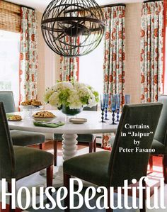 Window Treatments | Curtain Panels | Drapery | Dining Room | Eat In Kitchen | Decorating with Orange | Natural Shades | Metal Poles and Rings | Peter Fasano, LTD