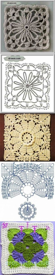 Just a quick entry here to show you what's on my work table this week: soft colors once again and a new light crochet square motif. Crochet Doily Diagram, Crochet Motifs, Crochet Blocks, Crochet Stitches Patterns, Crochet Chart, Crochet Squares, Love Crochet, Crochet Granny, Crochet Designs