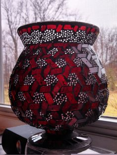 Short red stained glass vase by EllaBella07 on Etsy, $25.00