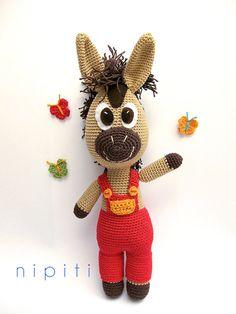 SALE Crochet Horse Crochet Amigurumi Toy Ready to by nipiti Crochet Amigurumi, Amigurumi Toys, Amigurumi Patterns, Crochet Patterns, Crochet Horse, Crochet Animals, Fabric Toys, Dyi Crafts, Crochet Gifts