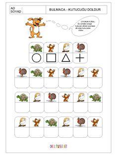 okul-öncesi-bulmaca-kutucuğu-doldur-oyunu-8.gif (1200×1600) Fun Worksheets For Kids, Math For Kids, Lessons For Kids, Kindergarten Worksheets, Fun Math, Preschool Prep, Preschool Activities, Visual Perception Activities, Coding For Kids