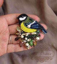 Buy Tit Brooch - blue, brooch, handmade brooch, buy a gift Bead Embroidery Jewelry, Beaded Embroidery, Beaded Jewelry, Bead Crafts, Jewelry Crafts, Brooches Handmade, Handmade Jewelry, Motifs Perler, Diy Schmuck