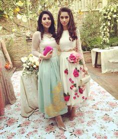 Pakistani outfits by Rishmal (L) & Zehra Saleem (R).