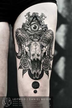 fuckyeahtattoos: Goat Skull by Daniel Meyer via...