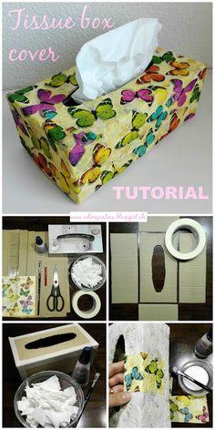 Nohama pevně na zemi...ale jen někdy;): DIY: Tissue box cover tutorial - ozdobná krabička na kapesníky