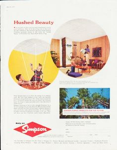 """Description: 1957 SIMPSON FOREST PRODUCTS vintage magazine advertisement """"Hushed Beauty"""" -- Simpson Forestone acoustical ceiling ... Relay on Simpson ... One of the oldest names in forest products -- Size: The dimensions of the full-page advertisement are approximately 10.5 inches x 13.5 inches (26.75 cm x 34.25 cm). Condition: This original vintage full-page advertisement is in Excellent Condition unless otherwise noted."""