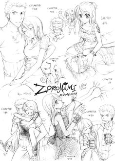 OP-Zoro X Nami-sketch01 by *MONO-Land on deviantART (moments from the manga reinterpreted as shippy stuff. I'm not sure that I ship this, but this style is really cute.)