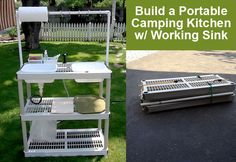 Build a Portable DIY Camping Kitchen with Working Sink - http://diyforlife.com/build-portable-diy-camping-kitchen-working-sink/ - #Camping, #Diy, #Sink