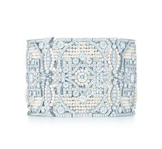 Tiffany & Co. | Item | The Great Gatsby Collection bracelet in platinum with diamonds and seed pearls.