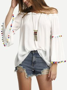 4d9306fe6b92 Sheinside Off The Shoulder Colored Pompom Trim Tops Summer New Ladies Flare  Sleeve Sexy Shirt Women Casual Cute White Blouse(China (Mainland))