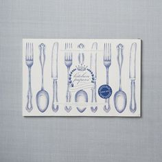 Kitchen Paper Placemats - White Utensils | west elm