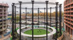 Once used for gas storage, the skeleton of the Victorian structure now frames a circular park.