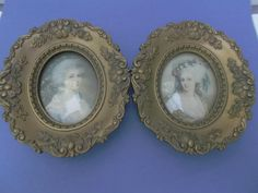 Here are a pair of vintage, Cameo Creations, hard plastic, gold washed frames with prints of two different Victorian ladies.  One lady is Maria Conway  offered by rubylane shop Saltymaggie's Treasures
