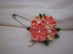 Plum Blossom in Peach and Cream Kanzashi Inspired by JagataraArt