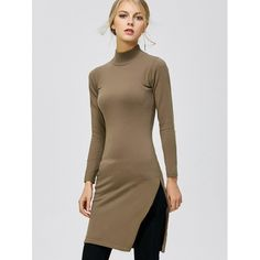 24.89$  Watch here - http://di9wl.justgood.pw/go.php?t=204224001 - Mock Neck Side Slit Pullover Sweater