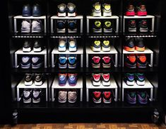A sneakerhead uses an IKEA bookcase to store his sneakers. storage sneakerhead room A Cool IKEA Hack That Every Sneakerhead Needs to Know About Shoe Storage Ikea Hack, Ikea Kallax Hack, Ikea Hacks, Sneaker Storage, Bathroom Shelves For Towels, Ikea Bookcase, Best Ikea, Shoe Display, Shoe Organizer