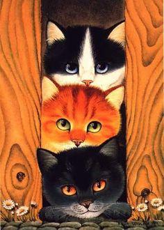 Art - Stapel von Kätzchen - Cross stitchs of Cats and Dogs - Katzen Crazy Cat Lady, Crazy Cats, Cool Cats, I Love Cats, Gatos Cats, Photo Chat, Cat Drawing, Beautiful Cats, Cat Art