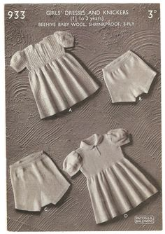 I have a number of these truly vintage knitting patterns from the 1930s and 1940s that I have converted to PDF files. Its a slow job and is taking longer than I expected, as some of them really needed working on. This pattern says it is for a 1 1/2 to 3 year old child. Length from shoulder is 16 inches width around at underarm is 19 inches. This is such a darling pattern especially the panties called knickers They are so unusual and yet so modern. You will not received the original patte...