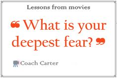 What is your #deepest #fear? from coach carter #movie Coach Carter, Deep, Movies, Films, Cinema, Movie, Film, Movie Quotes, Movie Theater