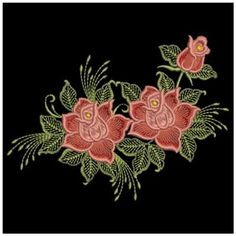 Ace Points Embroidery Design: Red Roses 2.87 inches H x 3.86 inches W