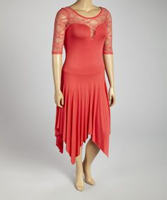 Loving this Coral Lace Handkerchief Dress - Plus on #zulily! #zulilyfinds