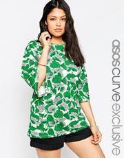 ASOS CURVE - Tunique à manches cloche et imprimé à fleurs vert