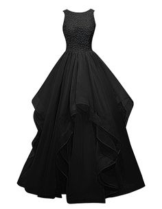 Dresstells® Long Prom Dress Asymmetric Bridesmaid Dress Beaded Organza Gown | Amazon.com