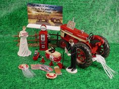 Red International Harvester Tractor Country Rustic Custom Groom's Wedding Cake Topper-Read My Sign - Funny Bride and Groom Mr Marry Mrs -IH1 by splendorlocity on Etsy https://www.etsy.com/listing/225364175/red-international-harvester-tractor