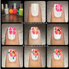 Hibiscus Flower Nail Art (No Link)