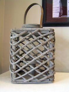 Rustic Gray Wood Woven Branch Lantern.