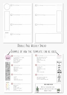WEEKLY BULLET JOURNAL TEMPLATES ------------------------------------------------------- It is so time consuming to keep drawing out weekly layout. These templates are designed to be completely blank, so you can fill them in as you wish and February Bullet Journal, Bullet Journal Spread, Bullet Journals, Organization Bullet Journal, Scrapbook Organization, Organization Ideas, Bujo, Bullet Journal Layout Templates, Journal Aesthetic