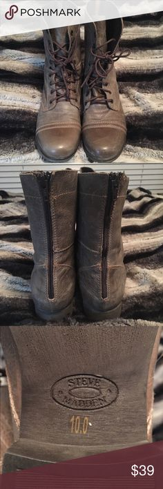 Steve Madden Light Brown Combat Boot Light brown Steve Madden combat boots w/ back zip and lace up front. Gently used. Steve Madden Shoes Combat & Moto Boots