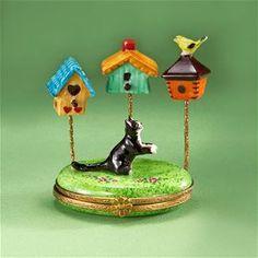 Cat with Birdhouses Limoges Trinket Box