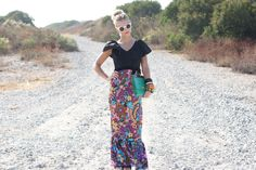 VTG 1970s 70s Black Floral Velveteen Maxi Dress w/ Ruffled Neckline S. $89.00, via Etsy.