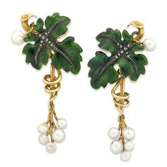 EARRINGS CONSISTING OF GREEN ENAMEL LEAVES AND VINES, ROSE-CUT DIAMONDS, SILVER VEINS, NATURALISTIC TWISTED GOLD VINES WITH SIX HANGING WHITE PEARLS
