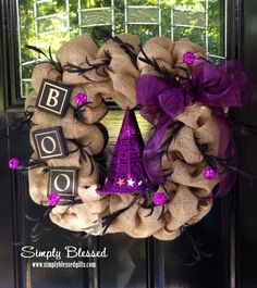 Square Chevron Burlap Wreath for Halloween - BOO - Purple Pumpkins, Purple Glitter Witch Hat - Fall, Halloween by SimplyBlessedGift