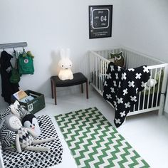 Black, white and green nursery - works for boy or girl.