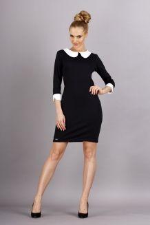 Czarna sukienka z kołnierzykiem MKD-M30  r. S, L