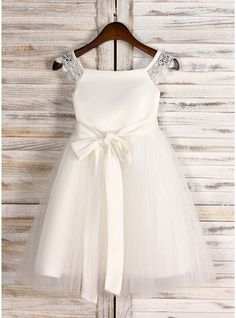 A-Line/Princess Knee-length Flower Girl Dress - Satin/Tulle Sleeveless Square Neckline With Sash (010091712) - JJsHouse