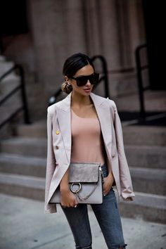 AUGUST 2ND, 2017 BY MARIA How To Wear A Blazer This Summer - OUTFIT DETAILS: Revolve Blush Blazer h:ours one shoulder bodysuit BLANKNYC Gray Jeans Nordstrom Ear Crawlers Quay Australia Sunglasses Stuart Weitzman Heels