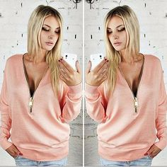 Sexy Pink Long Sleeve V Neck Zipper Blouse Brand new fits a Medium Tops Tees - Long Sleeve Fashion Tips, Fashion Design, Fashion Trends, Pink Ladies, Long Sleeve Tees, V Neck, Brand New, Zipper, Crop Tops