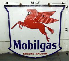 Antique Mobilgas Two Sided Sign Porcelain Steel Socony-Vacuum Pegasus Gas Oil EX US $2,249.99