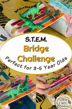 Bridge Building STEM Challenge for Kindergarten