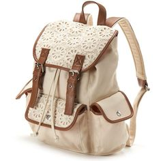 Candie's Peyton Crochet Cargo Backpack ($40) ❤ liked on Polyvore featuring bags, backpacks, accessories, purses, mochilas, candie's, cargo bag, crochet bag, zipper bag and brown handle bags