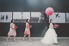 Cool composition.  And I like the black and white with the shot of colour Photography: Olive Studio - olivestudio.ca/ Photography:  Olive Studio  Read More: http://www.stylemepretty.com/canada-weddings/2014/04/07/modern-pink-malaparte-wedding-with-balloons/