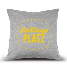 Dekokissen Lieblingsplatz in grau-gelb - Kissenhülle aus Jerseystoff 40x40 cm mit Aufdruck