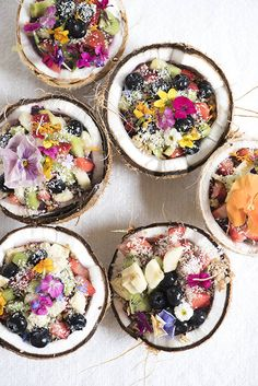 Coconut fruit salad bowls..