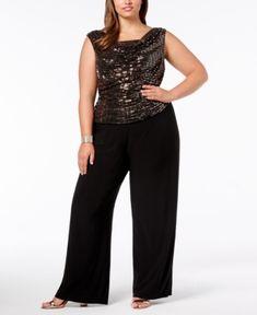 68cdd95c84b R   M Richards Plus Size Sequined Jumpsuit   Reviews - Pants   Capris -  Women - Macy s