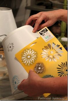 A great how-to tutorial on stenciling shades to add some color to a newly purchased lamp at an auction! Find more DIY lamp inspiration and shop for supplies at www. Rustic Lamps, Antique Lamps, Vintage Lamps, Painting Lamp Shades, Painting Lamps, Lampshade Redo, Lampshades, Painted Lampshade, Lamp Redo
