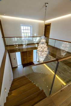 New Entrance Hall Glass Handrail, Stairs And Doors, Double Staircase, Glass Balcony, Self Build Houses, Interior Design Courses, Internal Design, Build Your Own House, Hotel Decor